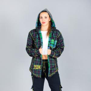 Giaccone donna sportivo scozzese classico blu e verde