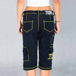 Pantalone donna corto a 3/4 blu con rifiniture zig-zag gialle