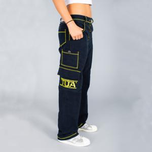 Pantalone donna lungo blu con rifiniture zig-zag gialle
