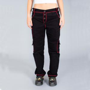 Tuta Italia vendita Abbigliamento Pantalone donna lungo nero con rifiniture zig-zag rosse