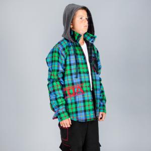 Tuta Italia vendita Abbigliamento Giaccone uomo sportivo scozzese modello verde e turchese
