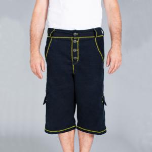 Tuta Italia vendita Abbigliamento Pantalone uomo corto a 3/4 blu con rifiniture zig-zag gialle