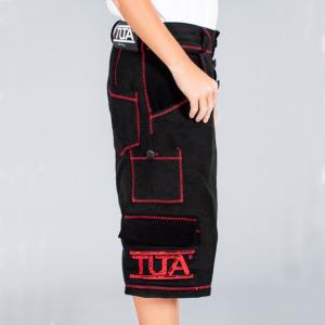 Tuta Italia vendita Abbigliamento Pantalone uomo corto a 3/4 nero con rifiniture zig-zag rosse