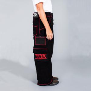 Tuta Italia vendita Abbigliamento Pantalone uomo lungo nero con rifiniture zig-zag rosse